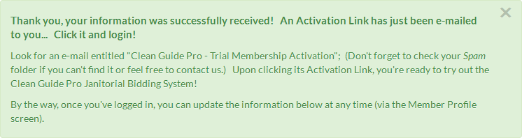 CleanlyRun Trial Registration successful message
